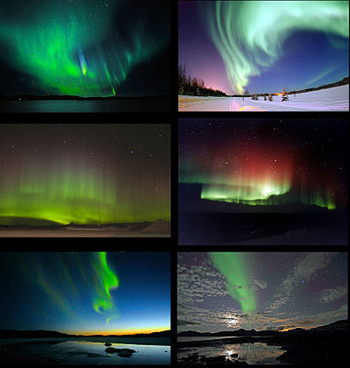 Images of the aurora australis and aurora borealis from around the world, including those with rarer blue and red lights