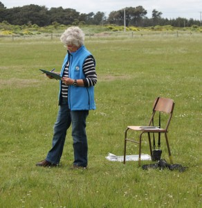 Lyn keeping tabs on starters and finishers.